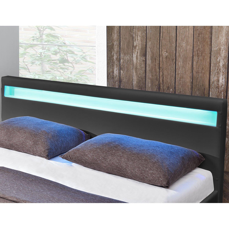 """Juskys Polsterbett """"Paris  – 180 × - 200 cm - × schwarz – Bettgestell mit Lattenrost, LED-Beleuchtung & Kunstleder   ArtLife 8d2b1c"""