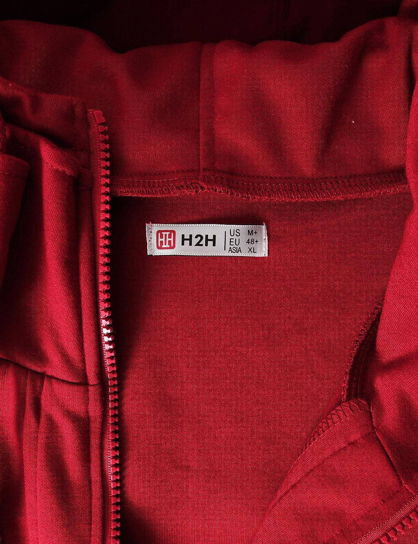 H2H Mens Casual Slim Fit Hoodie Zip-Up Long Sleeve Active Jackets