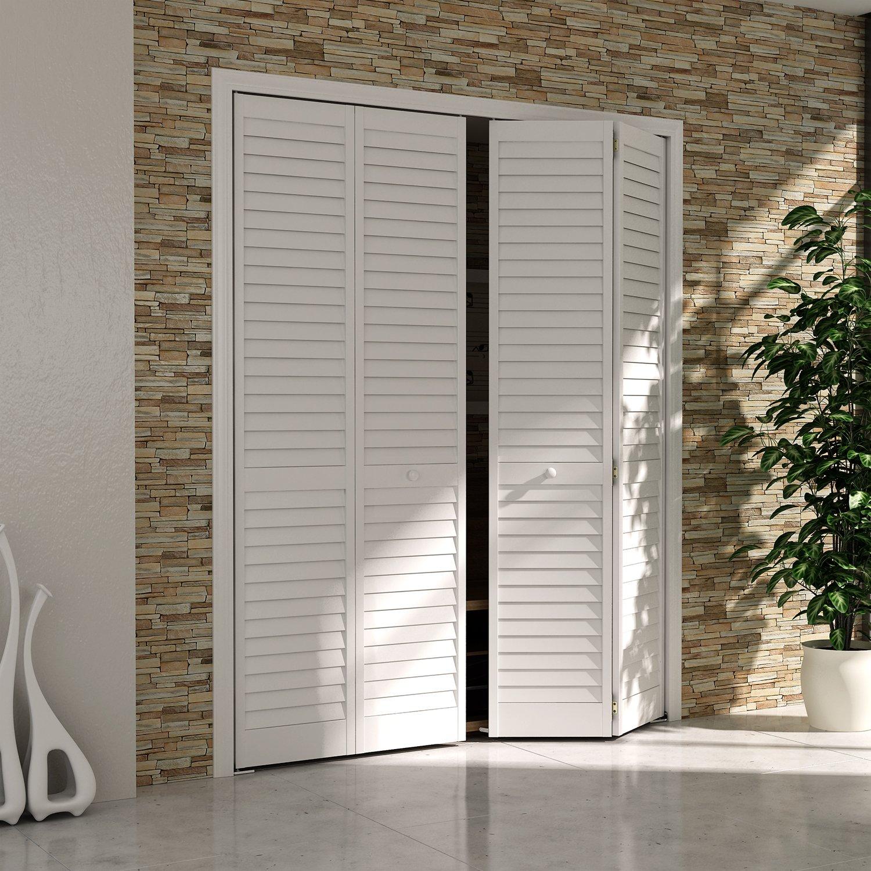 Bi Fold Closet Door, Louver Louver Plantation White (36x80)   Closet  Storage And Organization Systems   Amazon.com