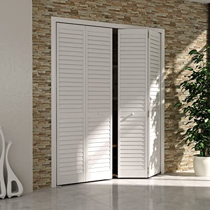 Bi-fold Closet Door Louver Louver Plantation White (30x80) & Bi-fold Closet Door Louver Louver Plantation White (30x80)