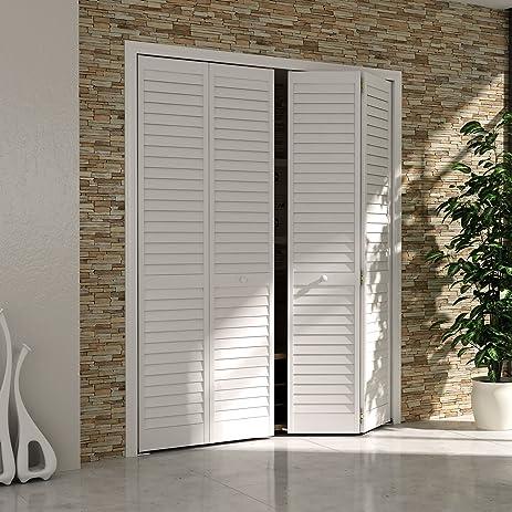Bi-fold Closet Door Louver Louver Plantation White (30x80) & Bi-fold Closet Door Louver Louver Plantation White (30x80 ... Pezcame.Com