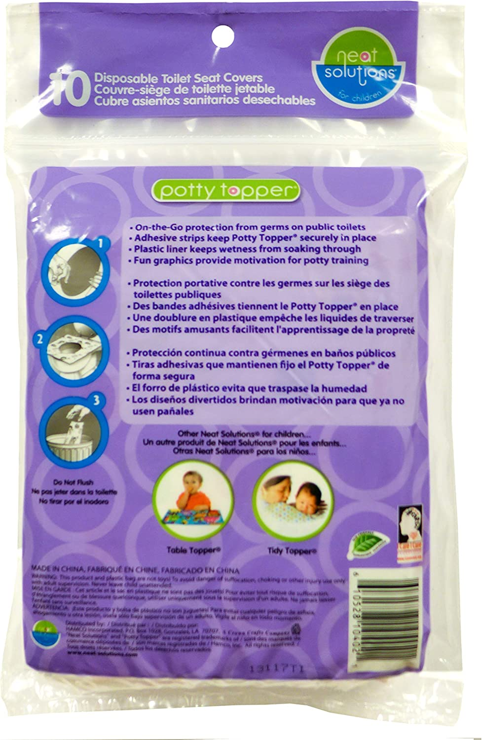 Neat Solutions Potty Topper Disposable Toilet Seat Cover with Adhesive Strips for On-The-Go Protection 10 Count