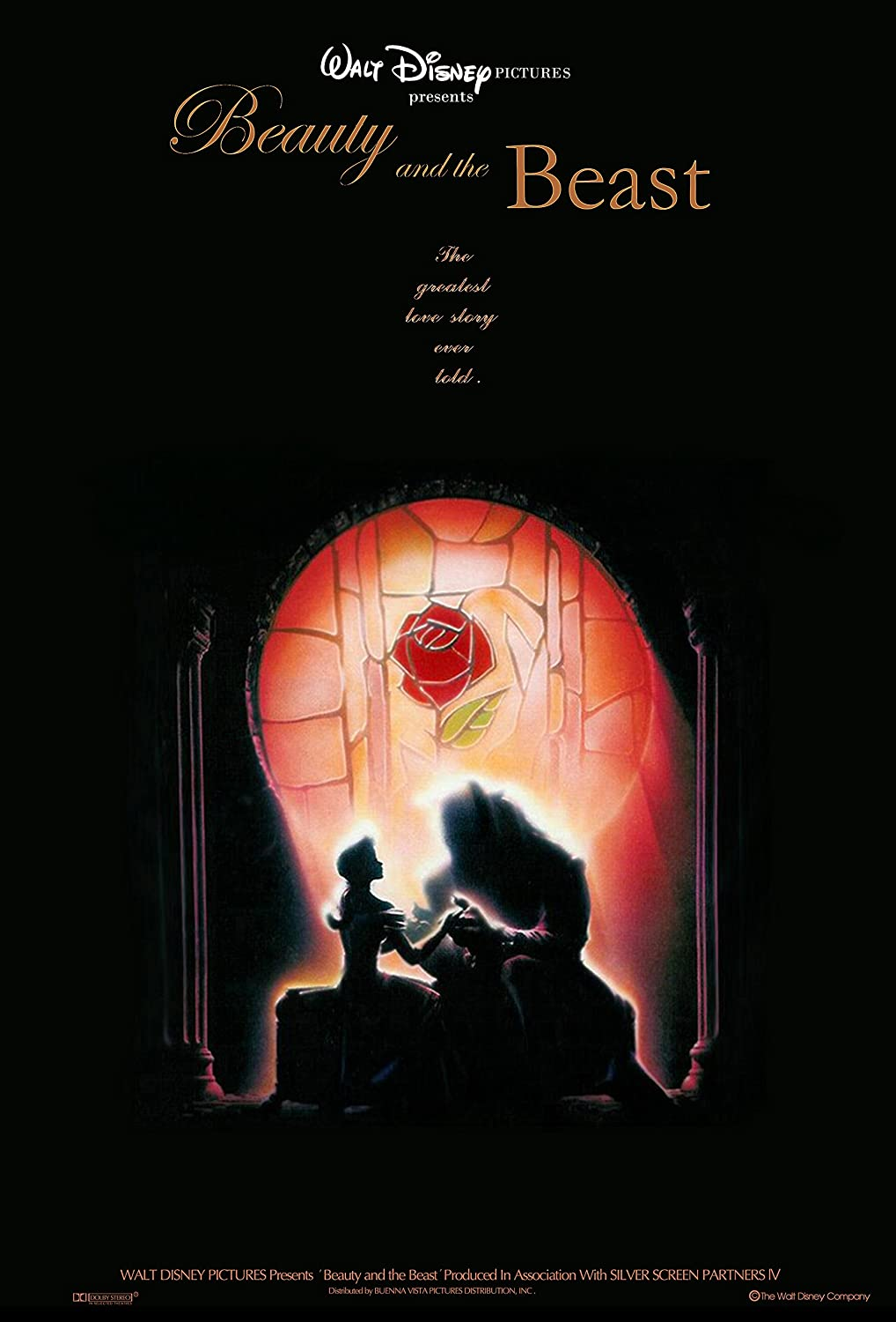 Amazon Com Movie Poster Beauty And The Beast 1991 Dark 13 In X 19 In Flyer Borderless Free 1 Tile Magnet Posters Prints
