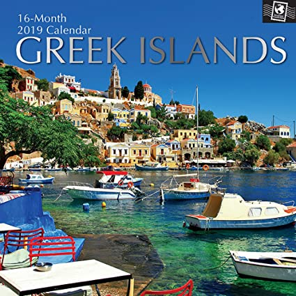 2019 wall calendar greek islands calendar 12 x 12 inch monthly view 16
