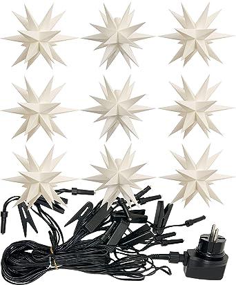 9er LED Sternenkette außen weiß Lichterkette Adventsstern Sterne Weihnachten Neu