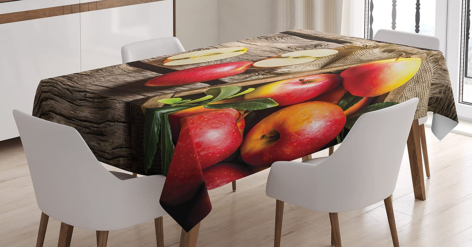 Ambesonne Fruits Decor Tablecloth, Box of Apples in On Wood Floor Penal Rusty Organic Nutrition Vitamin Harvesting, Dining Room Kitchen Rectangular Table Cover, 60 X 90 inches