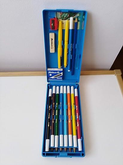 Estuche plumier rigido Pelikan años 80 Azul: Amazon.es: Oficina y papelería