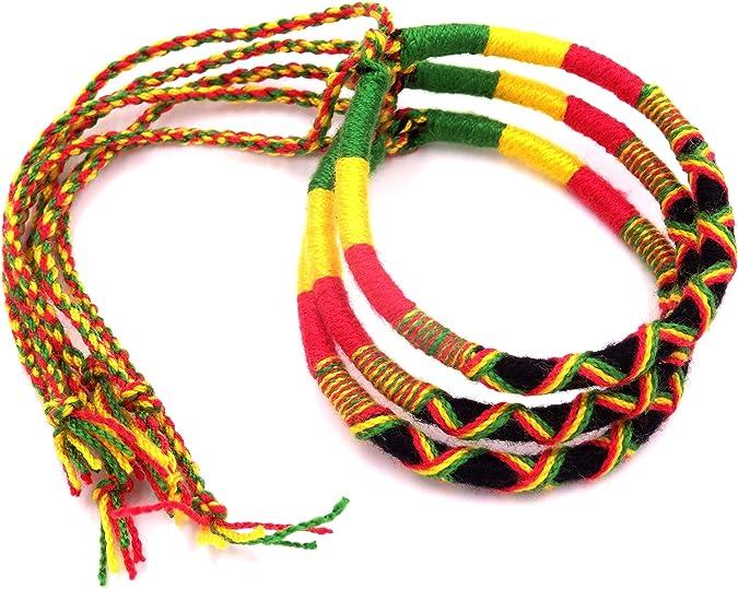 Lot de 3 Bracelets Rasta Reggae Bob Marley Jamaique Coton Amitié Macramé