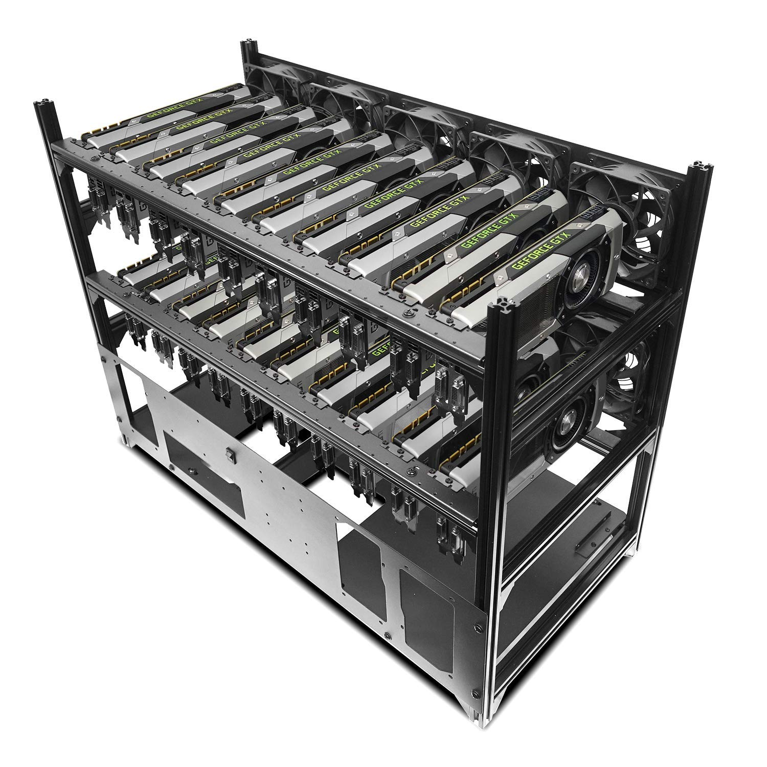Hydra V Rev  B 20 GPU Frame Rack for Learning/Mining/Rendering Servers,  E-ATX and 5 PSU Ready