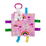 Baby Sensory Crinkle & Teething Square Lovey Toy with Closed Ribbon Tags for Increased Stimulation: 8 X8  (Unicorn and Rainbows)