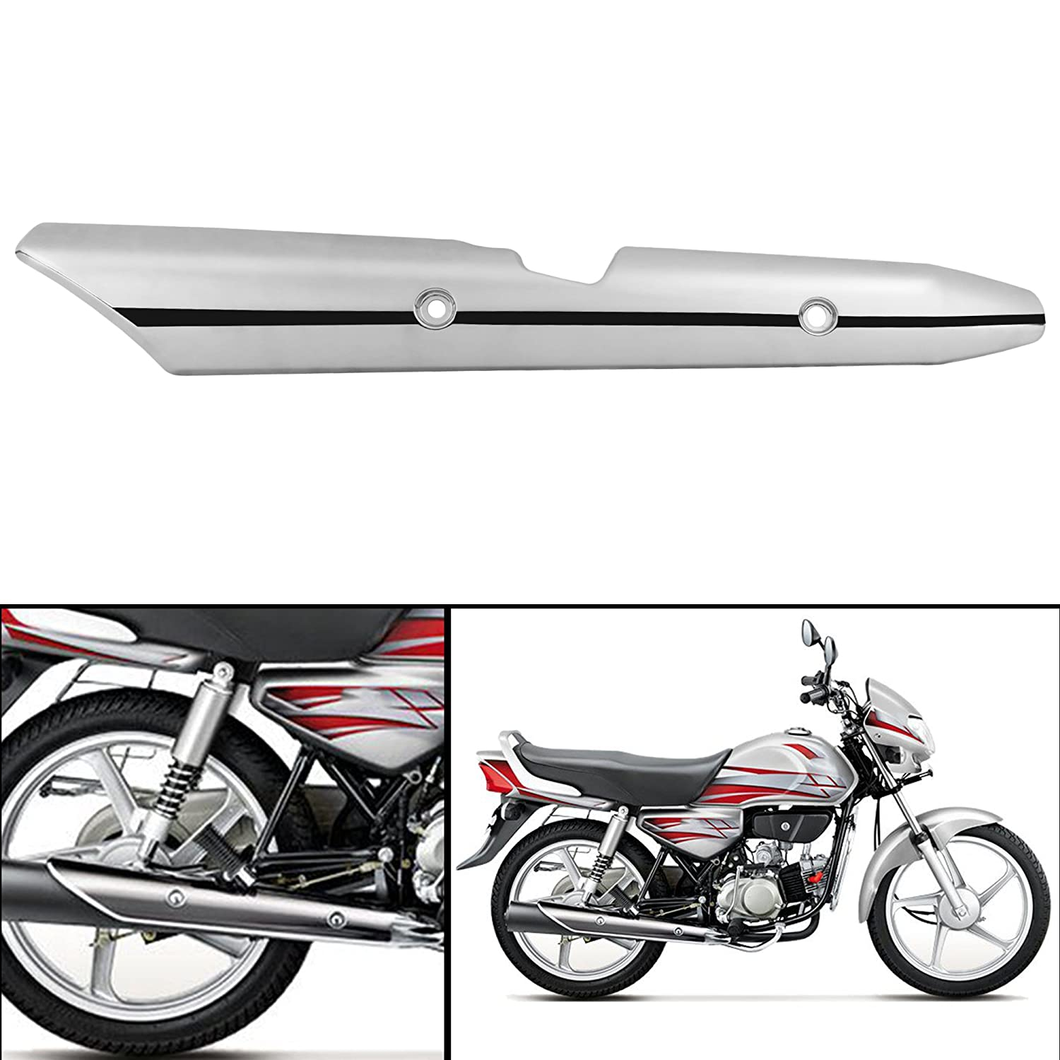Autofy Metal Silencer Guard Silencer Cover For Hero Hf Deluxe Silver Amazon In Car Motorbike
