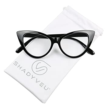 7dceec3ea5 ShadyVEU - Women s Cat Eye 80 s Magnifying Readers Rx Reading Prescription  Eye Glasses (Black Cat