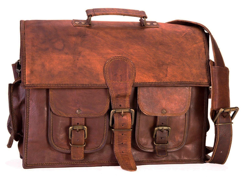 AOL Leather Vintage Crossbody Messenger Satchel Bag Gift Work Briefcase Carry Laptop Computer Book Handmade