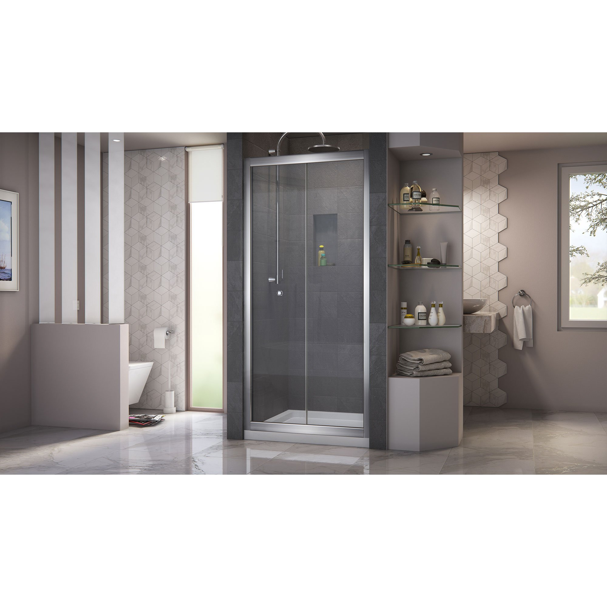 DreamLine Butterfly 34-35 1/2 in. Width, Frameless Bi-Fold Shower Door, 1/4'' Glass, Chrome Finish by DreamLine (Image #5)