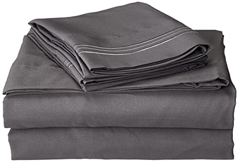 wholesale dealer dbc75 bd457 Anili Mili's Triple Stitch Embroidery Affordable 4 PC Bed Sheet Set - Queen  Size, Gray