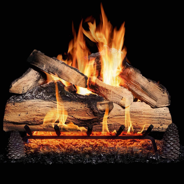 GasLogGuys 24 Inch Grand Mountain Split Oak Vented Natural Gas Log Set + H-Burner + Manual Safety Pilot + Wireless On/Off Wall Switch Kit by GasLogGuys