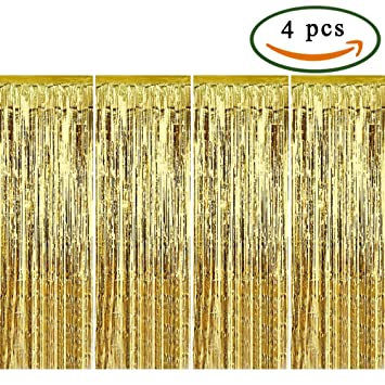 MIHOUNION Gold Shimmer Curtain 4 Pack Adhesive Metallic Tinsel Curtains Foil Fringe