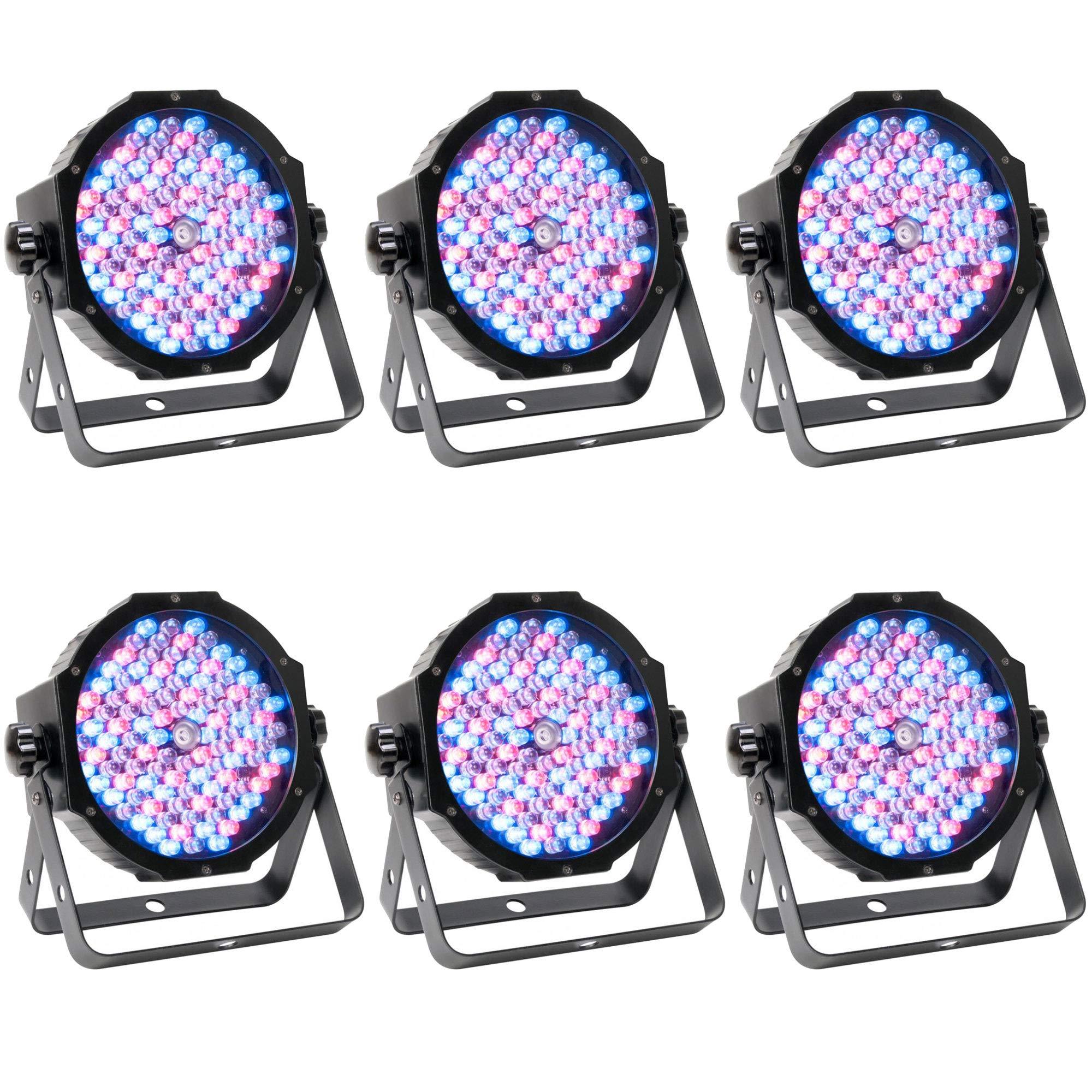 American DJ ADJ Mega Par Profile Plus LED RGB+UV Slim Par Can Wash Effect Light (6 Pack)