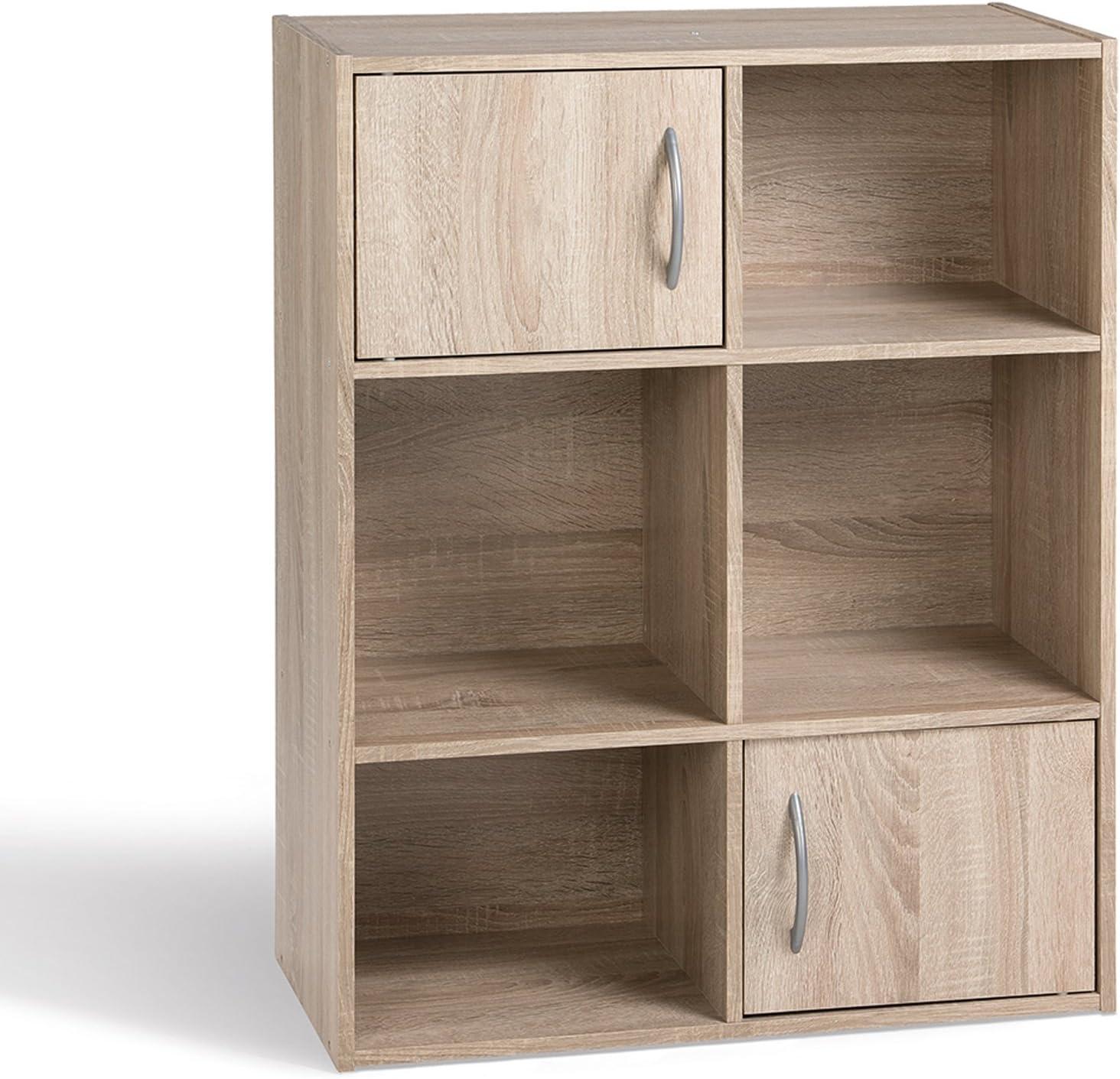 Compo Meuble de Rangement Colonne 4 Casiers Biblioth/èque Etag/ères Cubes Ch/êne 31 x 29,5 x 123 cm