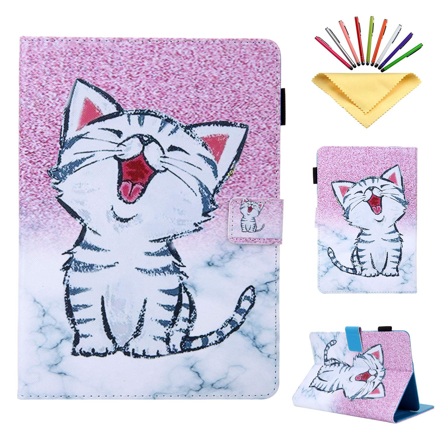 """8"""" Tablet Universal Case, Uliking 7.5-8.5 inch Tablets Pencil Cover for Lenovo/HP/LG/Asus/MediaPad for Samsung Galaxy Tab A 8.0/Tab E/4/S2 8.0, for Apple iPad Mini 5/4/3/2/1 7.9 inch, Pink Cat Marble"""
