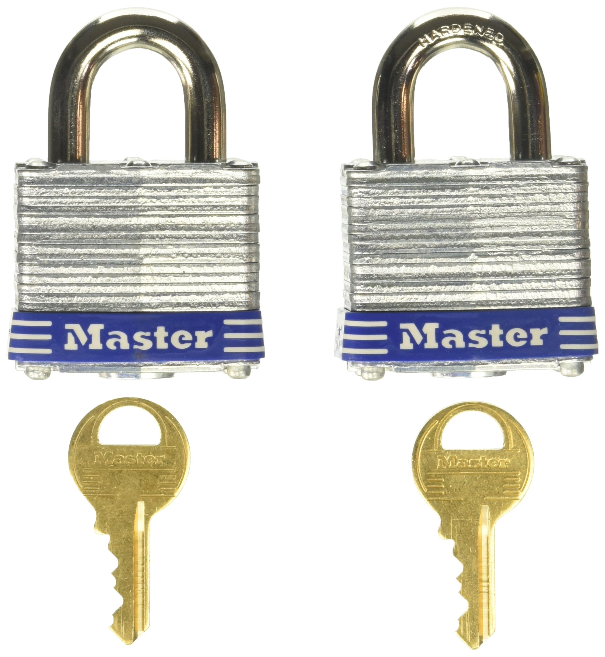 Master Lock 3T 1-9/16-Inch Wide Keyed-Alike Padlock, 9/32-Inch Shackle, 2-Pack by Master Lock (Image #1)