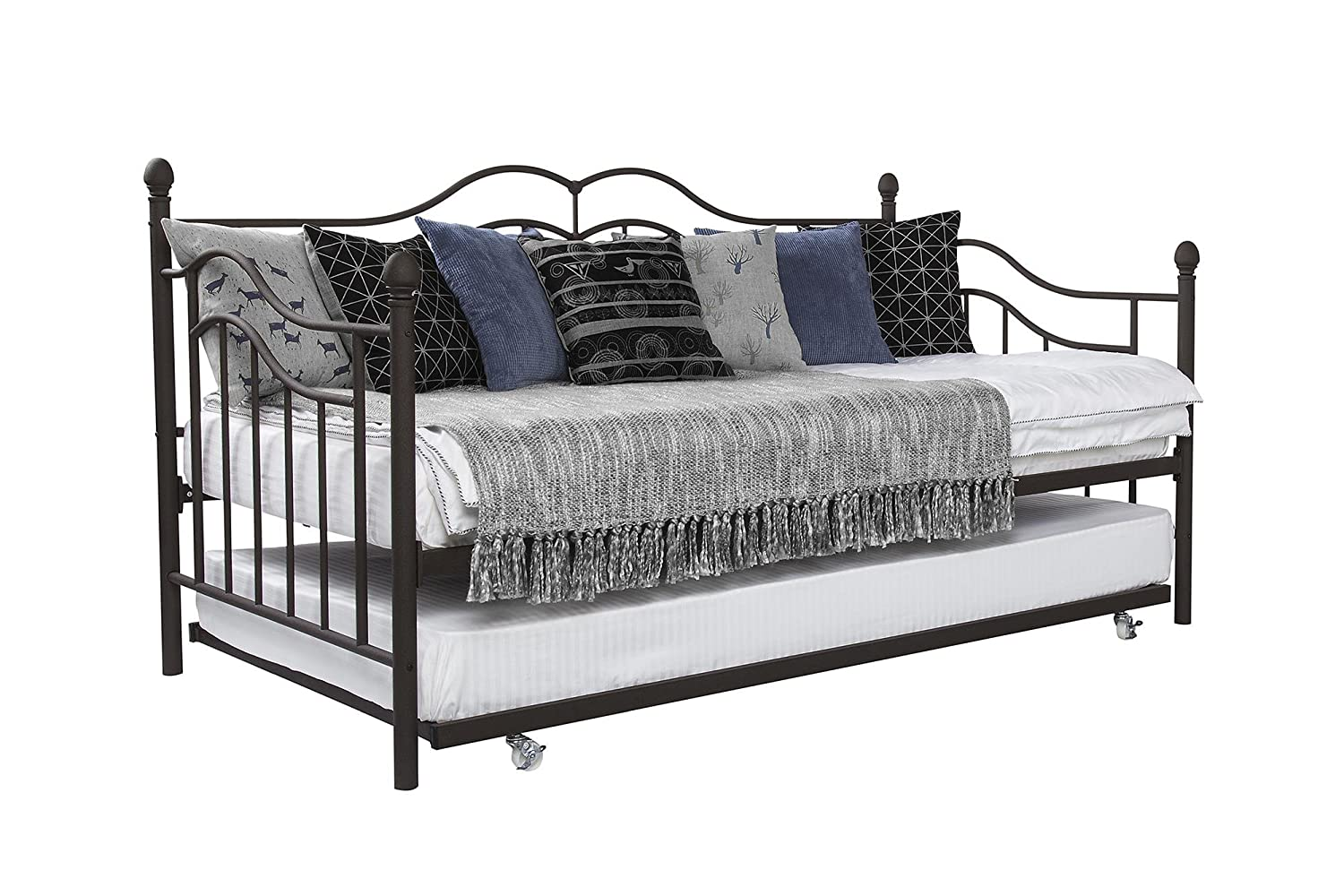 DHP Tokyo Daybed and Trundle with Metal Frame, Twin Size, Brushed ...