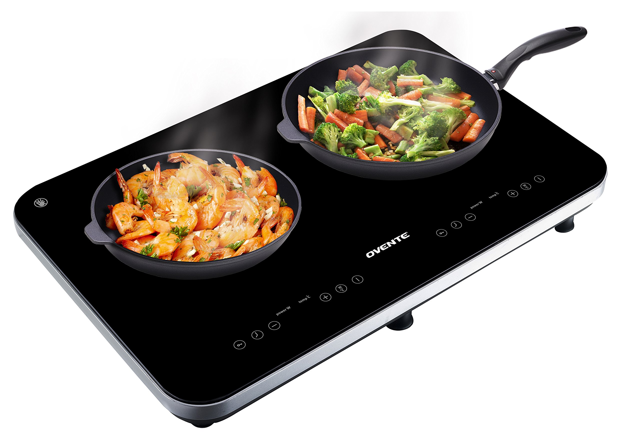 Ovente Induction Cooktop Burner, Cool Touch Portable Ceramic Glass, Double, Black (BG62B)