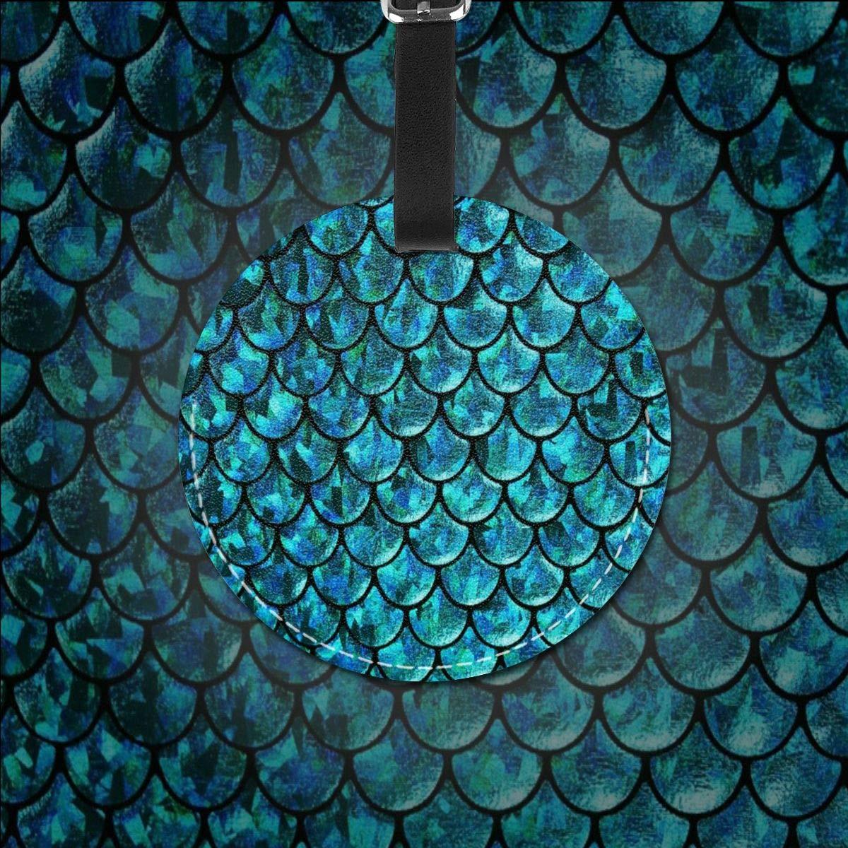 Free-2 Mermaid Skin Seamless Pattern Luggage Tag 3D Print Leather Travel Bag ID Card