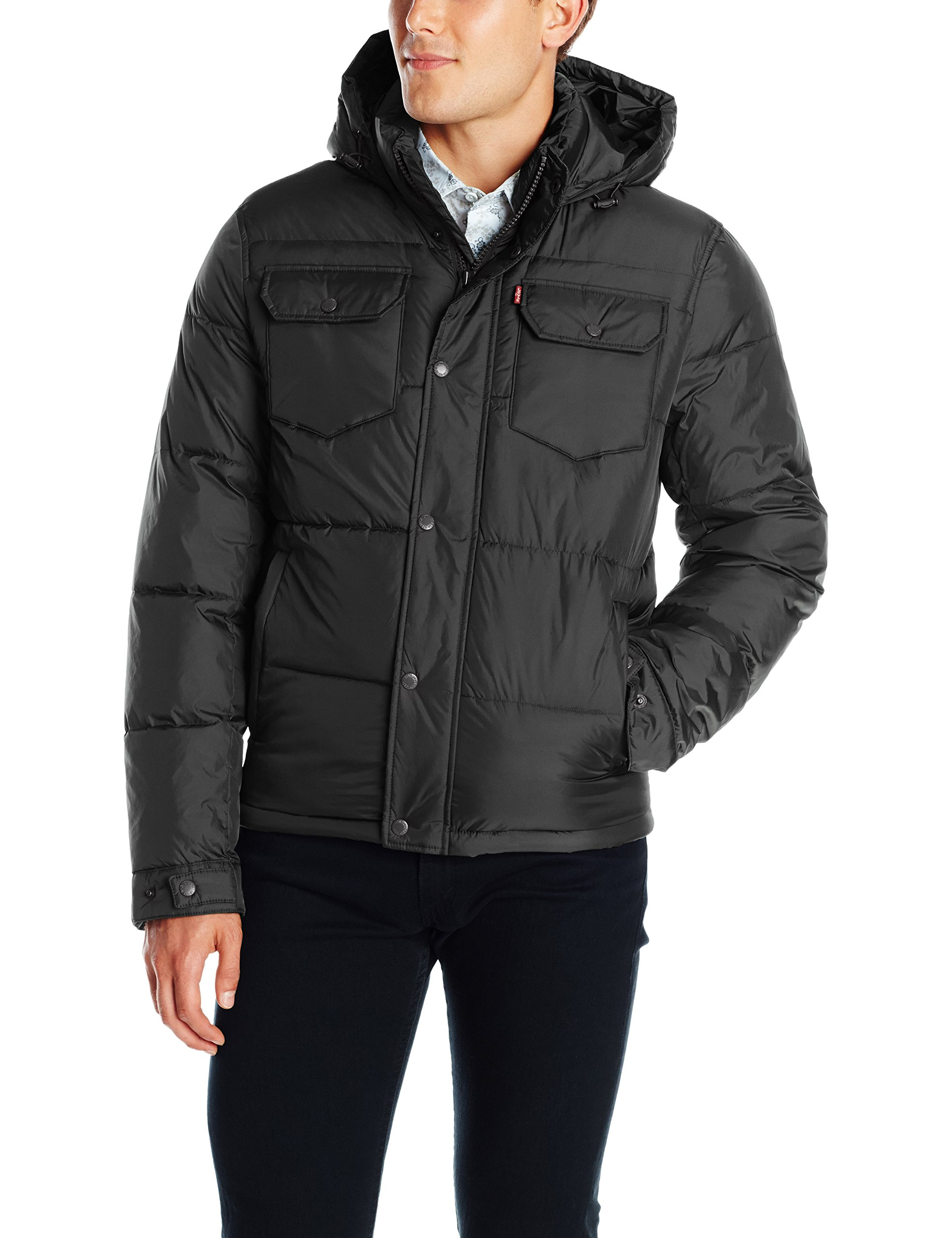 Levi's Men's Two Pocket Puffer Hooded Jacket, Black, Medium by Levi's