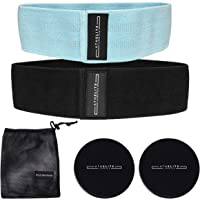 AthElite Lifestyle Fabric Resistance Bands with Core Sliders - Non Slip Cotton Booty Bands - Cloth Elastic Hip Band - Mesh Bag Included