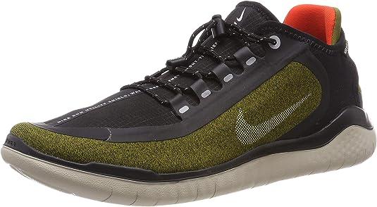 Nike Men's Free RN 2018 Shield Running Shoe Olive/Silver/Black (US 9.5)