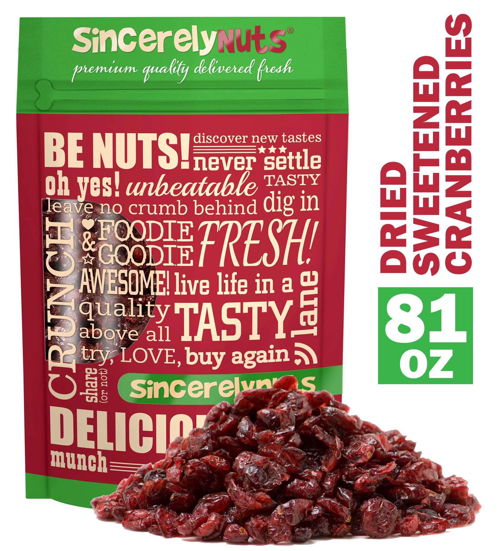 Sincerely Nuts Dried Sweetened Cranberries (5 LB) Vegan, Kosher & Gluten-Free Food-Dried Fruit Snack-Healthy Addition to Your Favorite Meals-Nutrient Rich Alternative Treat for the Whole Family by Sincerely Nuts (Image #1)