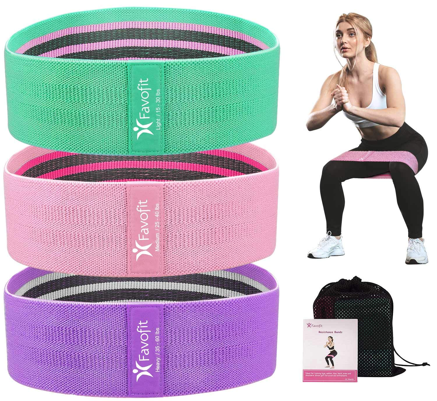 Favofit Resistance Bands Set for Legs and Butt, 3 Pack Non-Slip Workout Fitness Resistance Bands for Men and Women, Fabric Excersice Loop Bands with Action Guide and Carry Bag, Mint/Pink/Purple