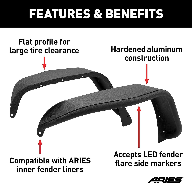 ARIES 1500201 Black Aluminum Front Jeep Wrangler JK Fender Flares