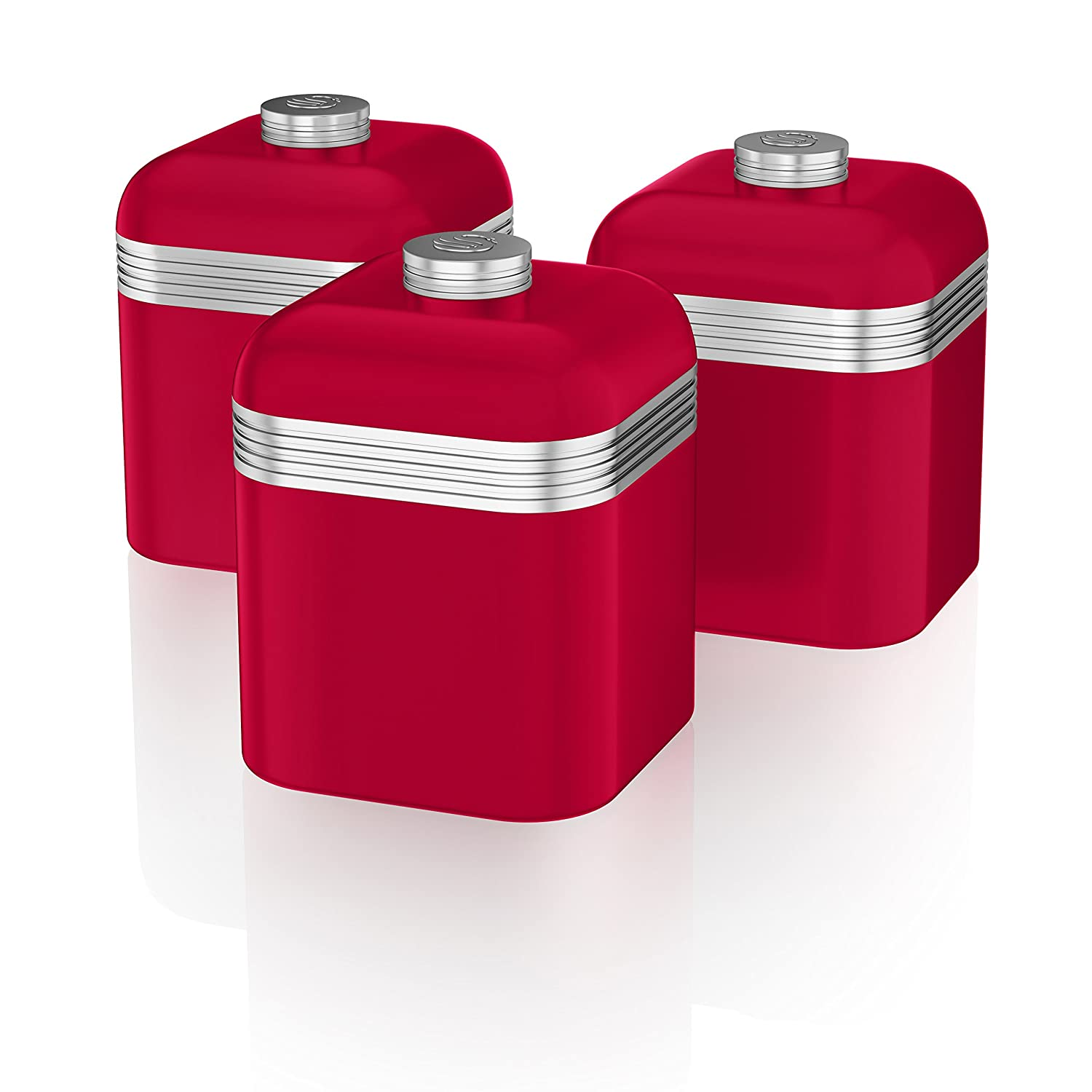 Red vintage kitchen accessories - Swan Kitchen Accessories Retro Set Retro Red Bread Bin Breadbin