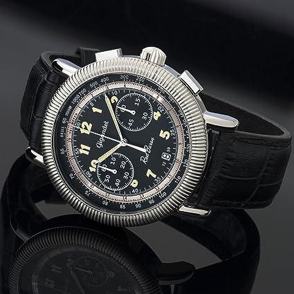 Amazon.com: Gigandet Mens Quartz Watch Red Baron IV Chronograph Analog Leather Strap Black Silver G19-005: Watches