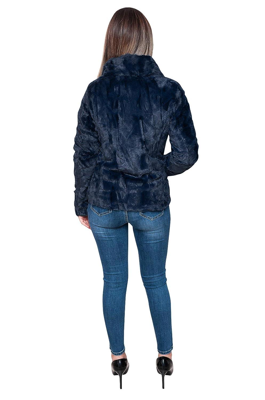 Evoga Pelliccia Piumino Donna Invernale Giacca Elegante
