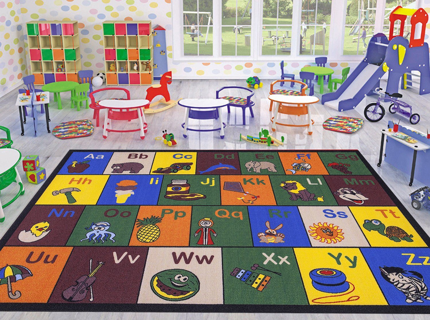 Ottomanson Jenny Collection Children's Multi Color Educational Alphabet (Non-Slip) Kids Classroom Area Rugs, 8'2'' X 9'10'', Multicolor