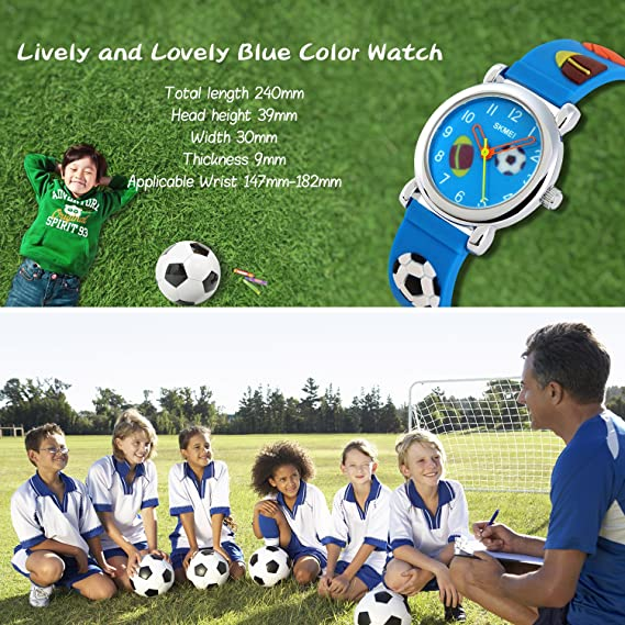 Amazon.com: Kids Analog Quartz Watch,Boys Girl Time Teacher Watches with PU Band Children 30M Waterproof Wristwatch (Blue): Watches