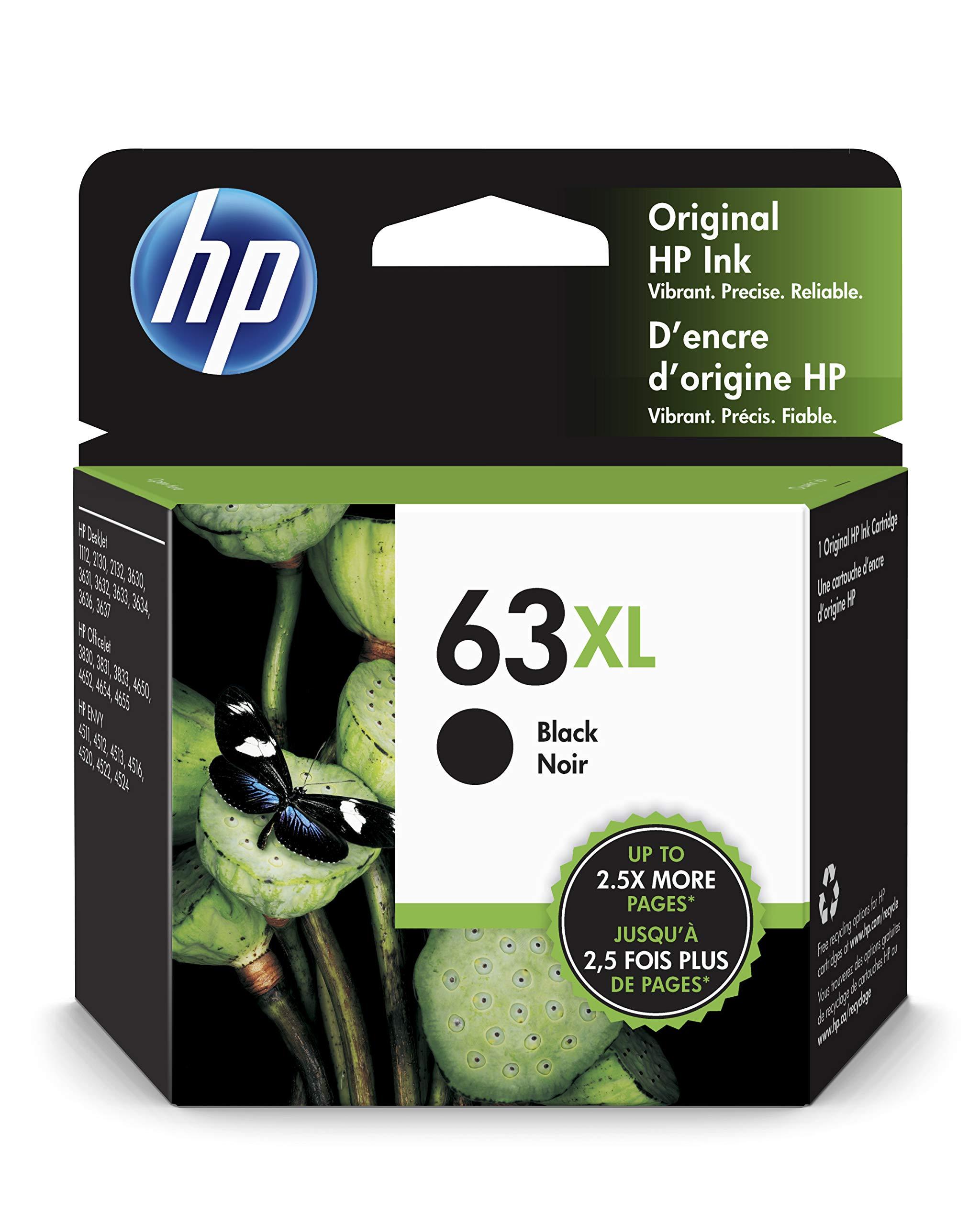 HP 63XL Black High Yield Original Ink Cartridge For HP DeskJet 1112, 2130, 2132, 3630, 3631, 3632, 3633, 3634, 3636, 3637, HP ENVY 4511, 4512, 4516, 4520, 4521, 4522, 4524, HP OfficeJet 3830, 3831, 3832, 3833, 4650, 4652, 4654, 4655 - F6U64AN#140 product image
