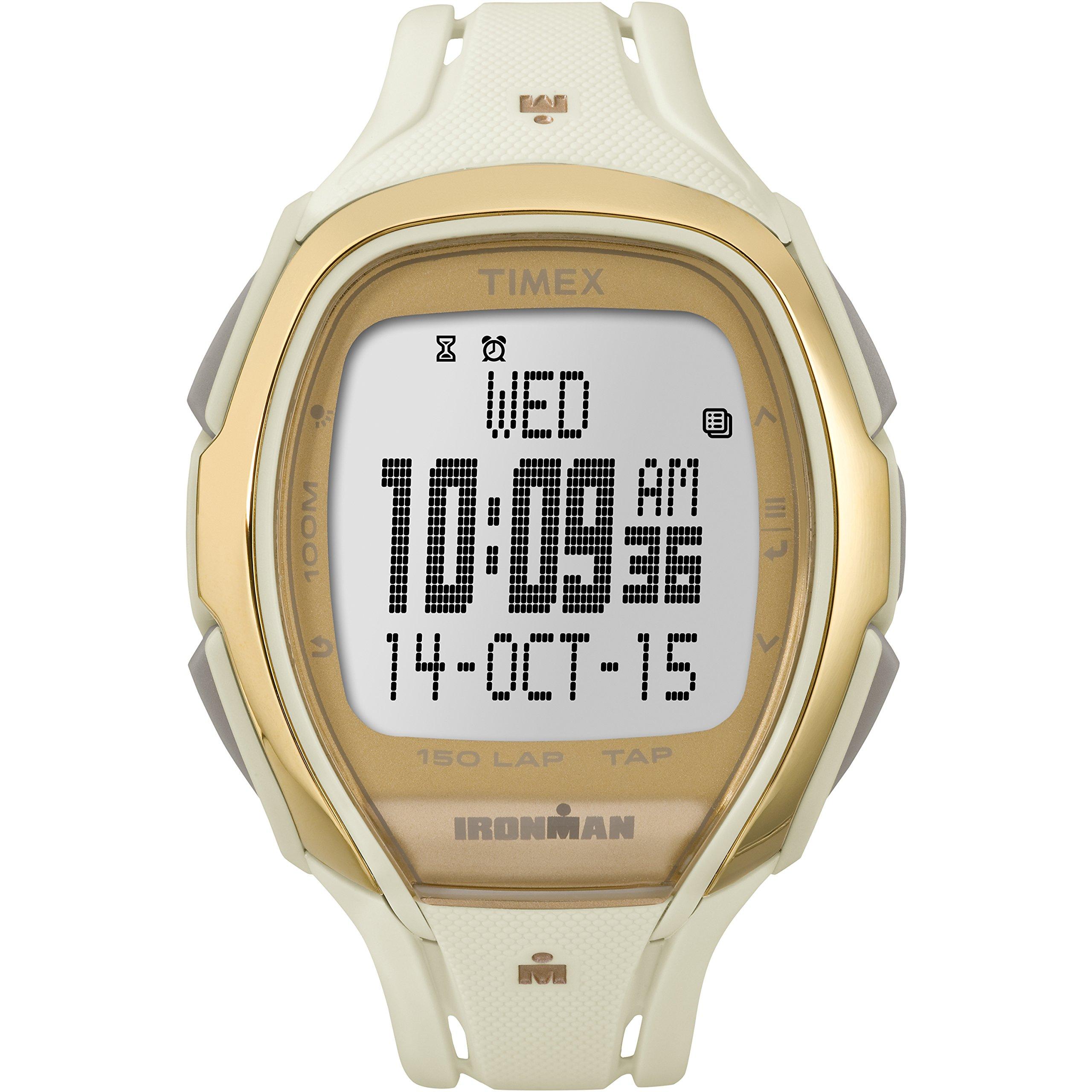 Timex Unisex TW5M05800 Ironman Sleek 150 Tapscreen Full-Size White/Gold-Tone Resin Strap Watch by Timex