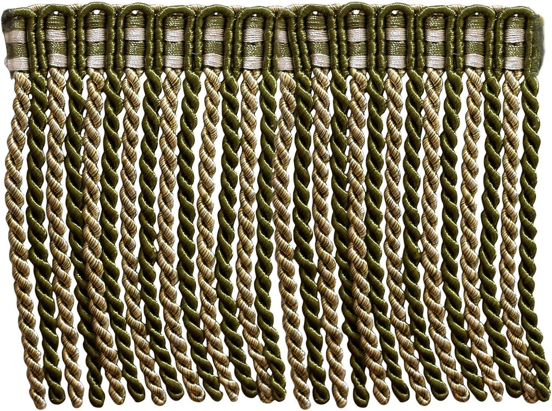 White Olive Green Light Gold Style# DB6 16 Ft // 5 Meters 5.4 Yard Value Pack of 6 Inch Long Bullion Fringe Trim Olive Garden 010