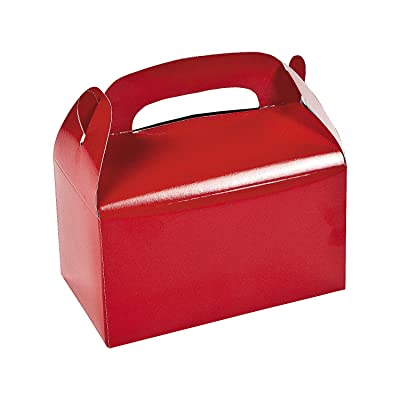 Fun Express Red Treat Boxes (1 dozen) 4th of July, Valentine, Holiday & Christmas Cookie Exchange, Secret Santa Gifts, Party Favors: Toys & Games