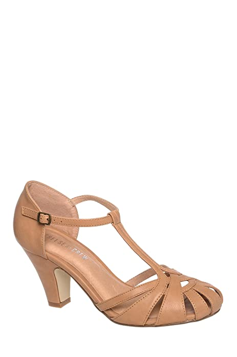1920s Style Shoes Sergi Mid Heel T-Strap Sandal  AT vintagedancer.com