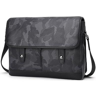BABAMA Men Leather Messenger Bag Crossbody Shoulder Purse Briefcases Laptop  Satchel Black Gray Camouflage … 5a142e632bf1d