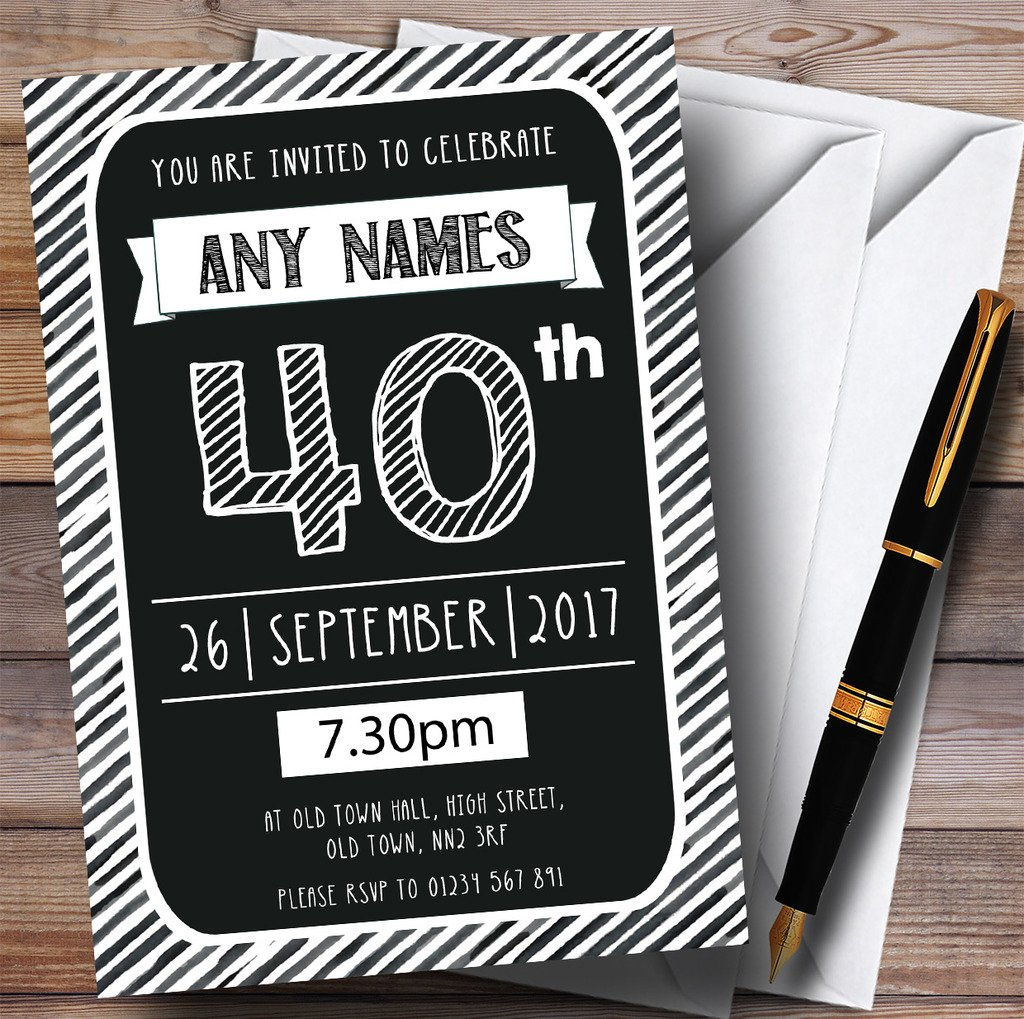 150 Invites & & & Envelopes Black & White Stripy Deco 40th