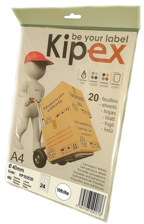 der Kreis 40mm wei/ß Kipex KP102520 Universal Etiketten 20 Blatt DIN A4 Papier matt selbstklebend, 480 Aufkleber bedruckbar