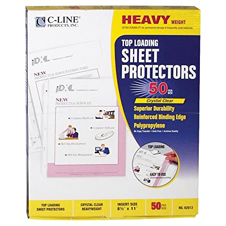 Amazon.com : C-Line Top Loading Heavyweight Poly Sheet Protectors ...