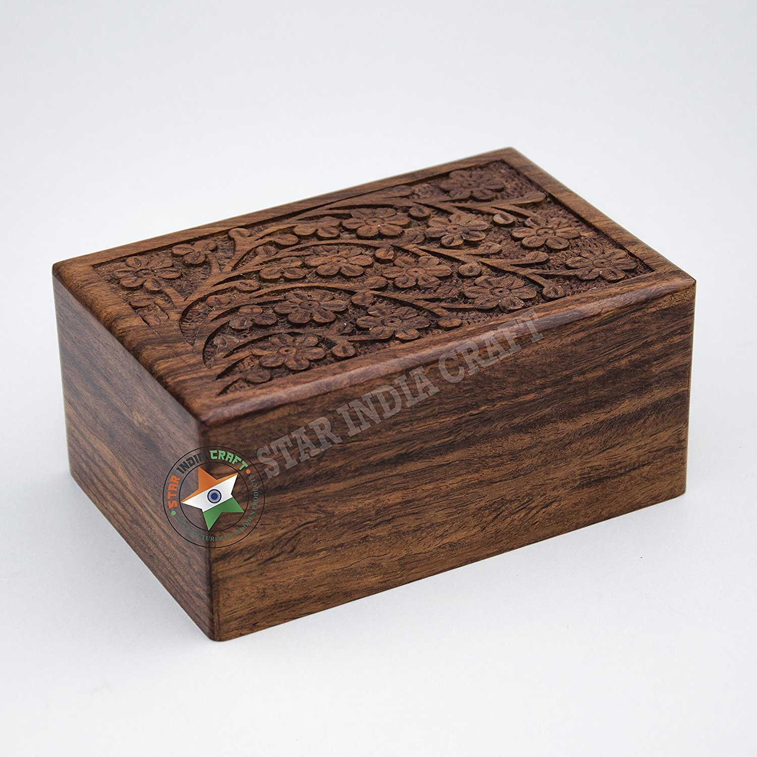 Beautifully Handmade Tree of Life Engraving Wooden Cremation Urns for Human Ashes Adult by STAR INDIA CRAFT - Rosewood Funeral Urns for Dogs/Cats, Wooden Box - Keepsake Urn Box (Extra Small - 5 x 3 x 2) UM-SWU-10 ES