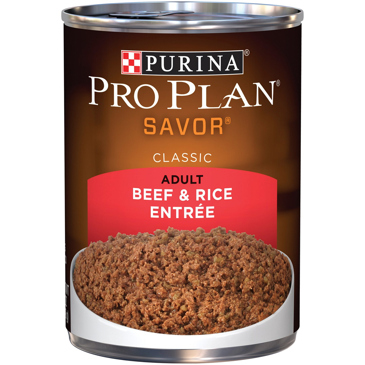 Purina Pro Plan Wet Dog Food, Savor, Adult Beef & Brown Rice Entrée Classic, 13-Ounce Can, Pack of 12